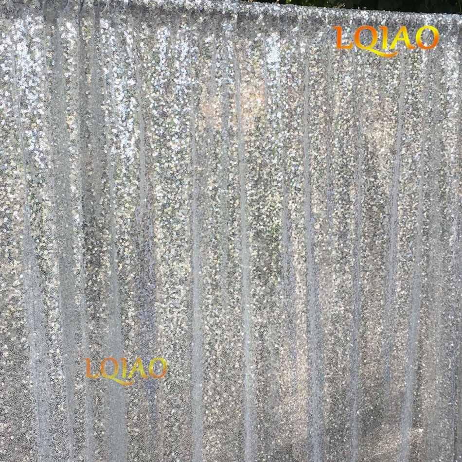 Lqiao Wedding Christmas Backdrop Glitter Silver 4ftx12ft