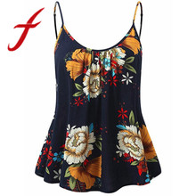 Feitong Sexy Women Floral Sleeveless Tops Thin Straps Cropped Tops Women Sports Bras