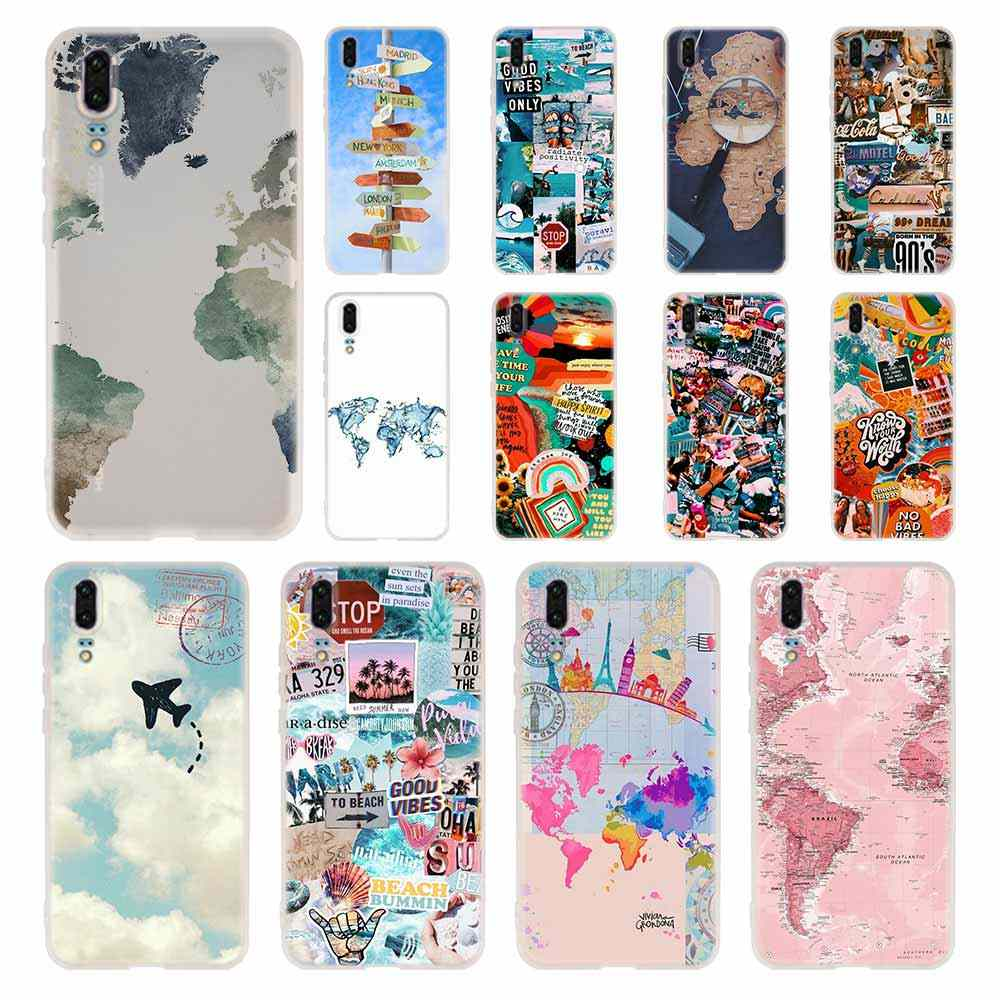 World Map Travel Phone Case For Huawei P8 P9 Lite 2017 P10 P20 P30 Lite Plus Pro P Smart 2019 Cover