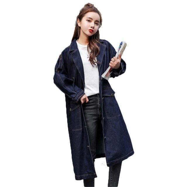 2f015688f985 Blusão da mulher 2019 Tamanho Grande Impressão Denim Primavera Casaco  Feminino Longo Trench Coat Outerwear Solto