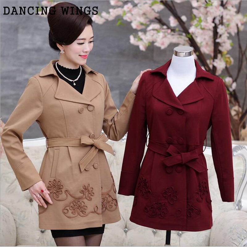 Plus Size 5XL   Trench   Coat Spring Autumn Long-Sleeved Turn Down Collar Solid Double-Breasted Middle-Aged Women Windbreaker