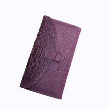2017 Women Genuine Leather Long Serpentine Wallet Coin Pocket Card Money Holder Clutch Bag Zipper Poucht Wallets Evening Bags