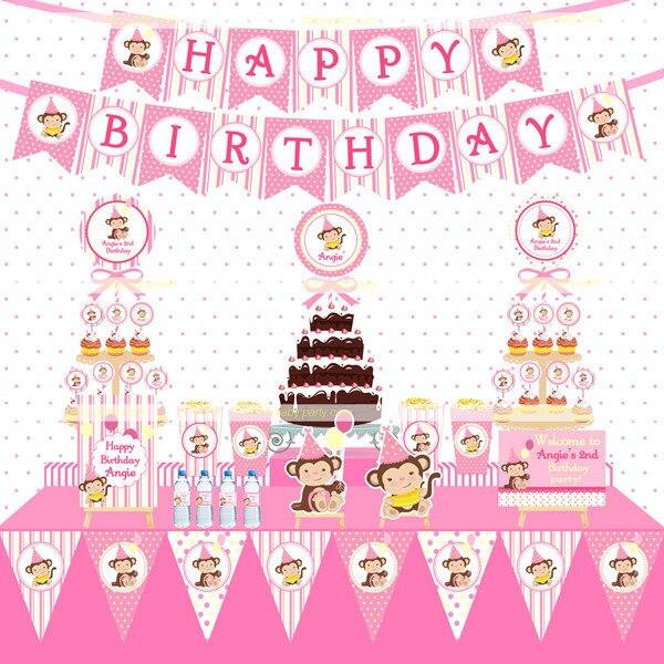 Trolls Happy Birthday Banner We Can Easily Add An: Children Baby Shower Pink Cartoon Monkey Birthday Party