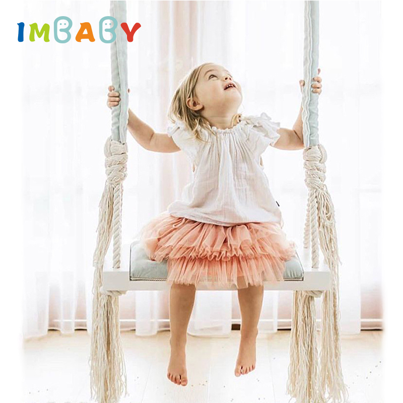 IMBABY Baby Swing Chair Hanging Swing Indoor Kids Hanger Children Toy Wood Seat with Cushion Safety