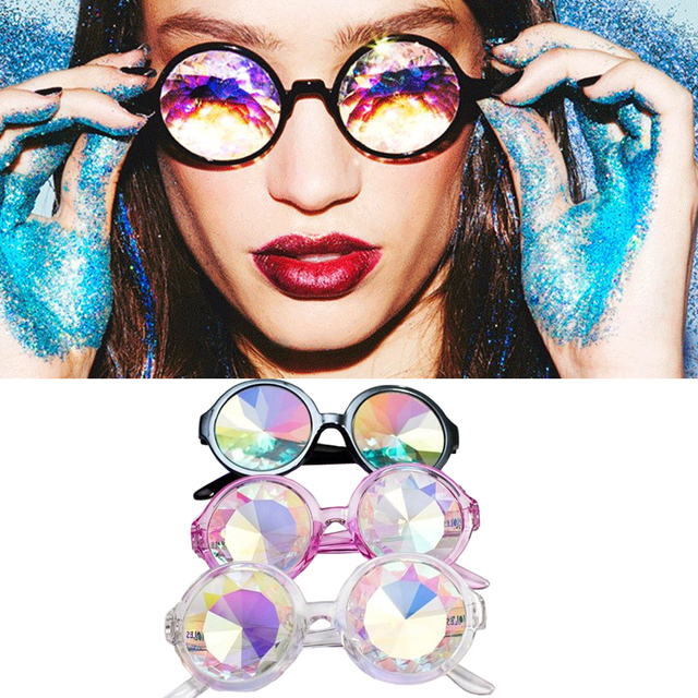 19fb0d33611 Newest Round Brand Designer Celebration Lady GAGA Sunglasses Women Men  Kaleidoscope Sunglasses Colour Glass Lens Party