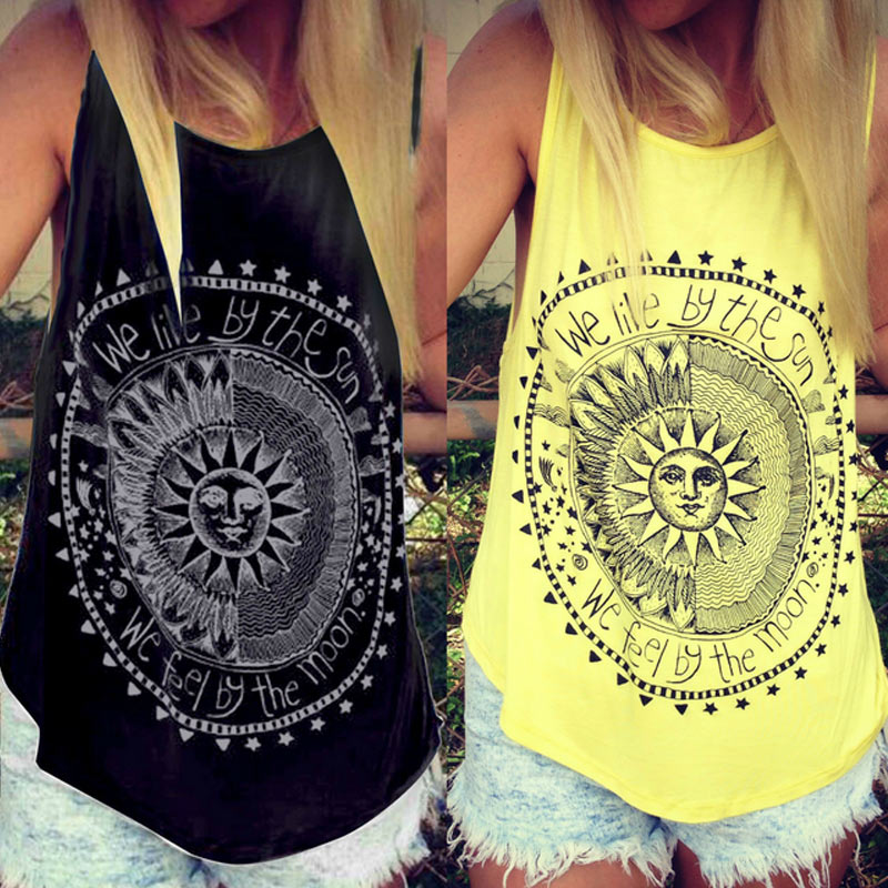 Fashion Harajuku Women Stylish Sun Letters Circle Printed   Tank     Top   Casual Cotton Fitness   Tops   99 -MX8