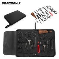 PRACMANU 10Pcs Carbon Steel Shear Garden Bonsai Pruning Tool Extensive Cutter Scissors Kit With Nylon Case For Home Garden Yard