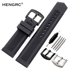 HENGRC Rubber Watchband 22mm Men Black Sport Diving Silicone Watch Band Strap Stainless Steel Metal Pin Buckle Bracelet  цена 2017