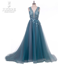 Cyan Evening Dress Blue Green V neck Illusion Bodice Tank  Lace up Back A line Tulle Prom Dress Long 2018 Real Work Appliques