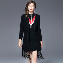 Women's autumn new United States large tassel double-sided woolen coat long paragraph cardigan jacket female about everything