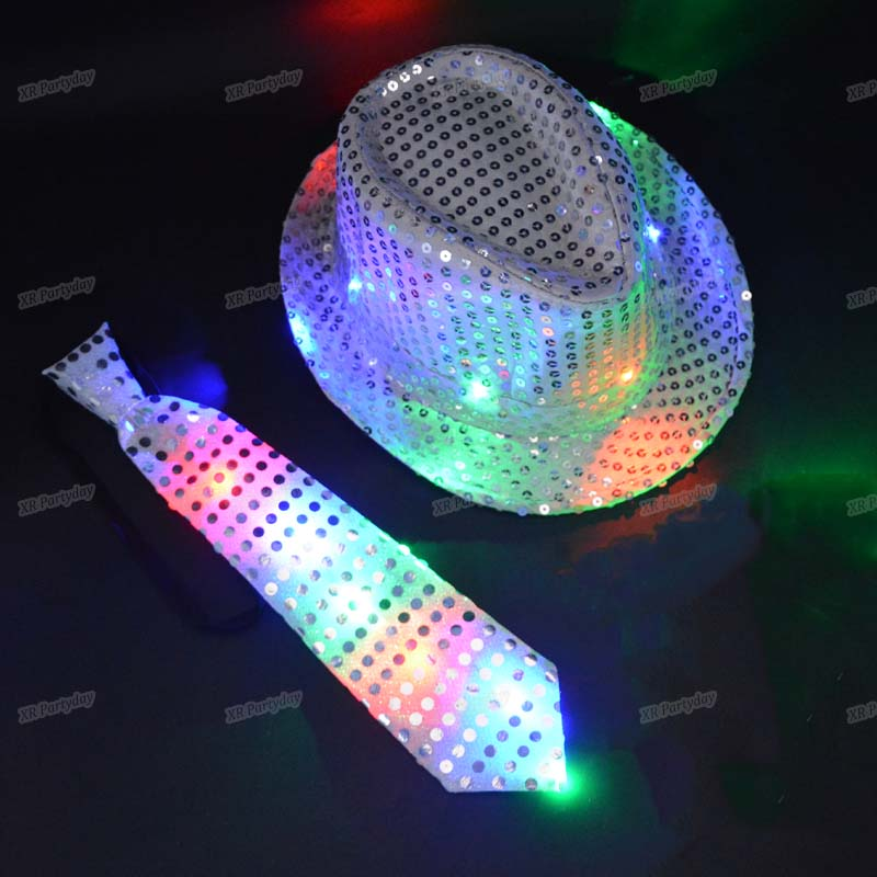 Man Boy Kvinde Pige Sequins LED Lys Neck Tie Hip Hop Jazz Hatte Flashing Fødselsdagsfest Cap Wedding Decoration Halloween