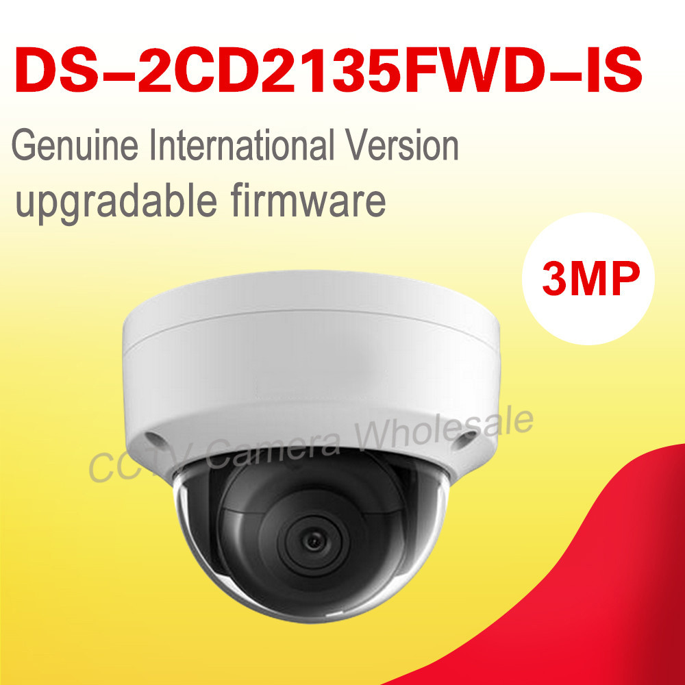 Free shipping English version DS-2CD2135FWD-IS 3MP ultra low-light mini dome cctv camera audio, ip security camera POE H.265+ 6mm 3mp f1 2 1 2 5 inch sony imx290 imx291 lens for 1080p 3mp ultra low light ip camera cctv camera free shipping