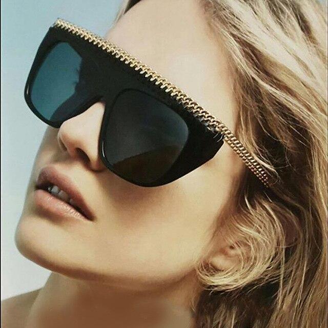 CCSPACE Chaîne En Métal De Style Vintage Marque Femmes lunettes de Soleil  De Mode Lunettes UV400 4c1d05f367db