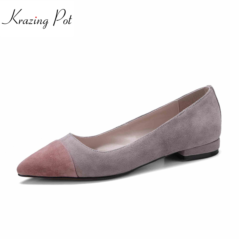 krazing Pot 2018 sheep suede concise style slip on mixed colors classic brand shoes women pumps low heels pointed toe shoes L03 krazing pot sheep suede summer elastic band thin med heels beading pointed toe slip on women sexy office lady pumps shoes l96