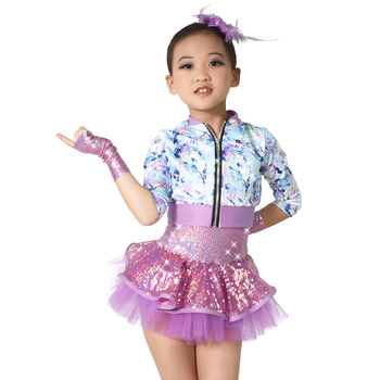 MiDee Tap & Jazz Dance Costume Outfits For Girls Full Sequins Dress with Lycra Jacket Front Centre Zipper-Up Closure