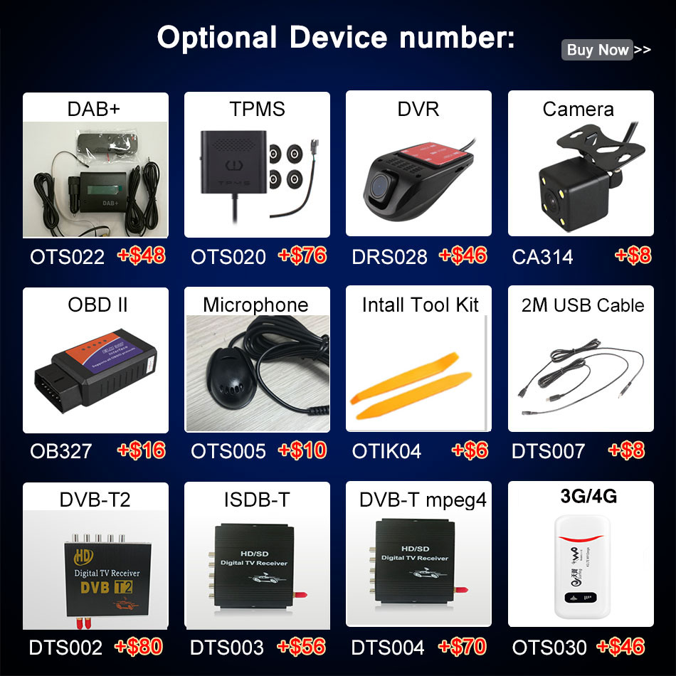 The Link to Pay Extra cost of the Optional Related Products for LPYFRG Android Car DVD Navigation