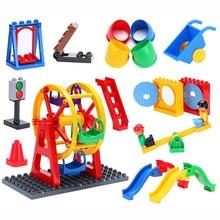 Tamanho grande DIY Blocos de Construção Figuras Dinossauros Do Balanço Animais Acessórios Marca Compatível Duploingly Tijolo Brinquedos para crianças Presente
