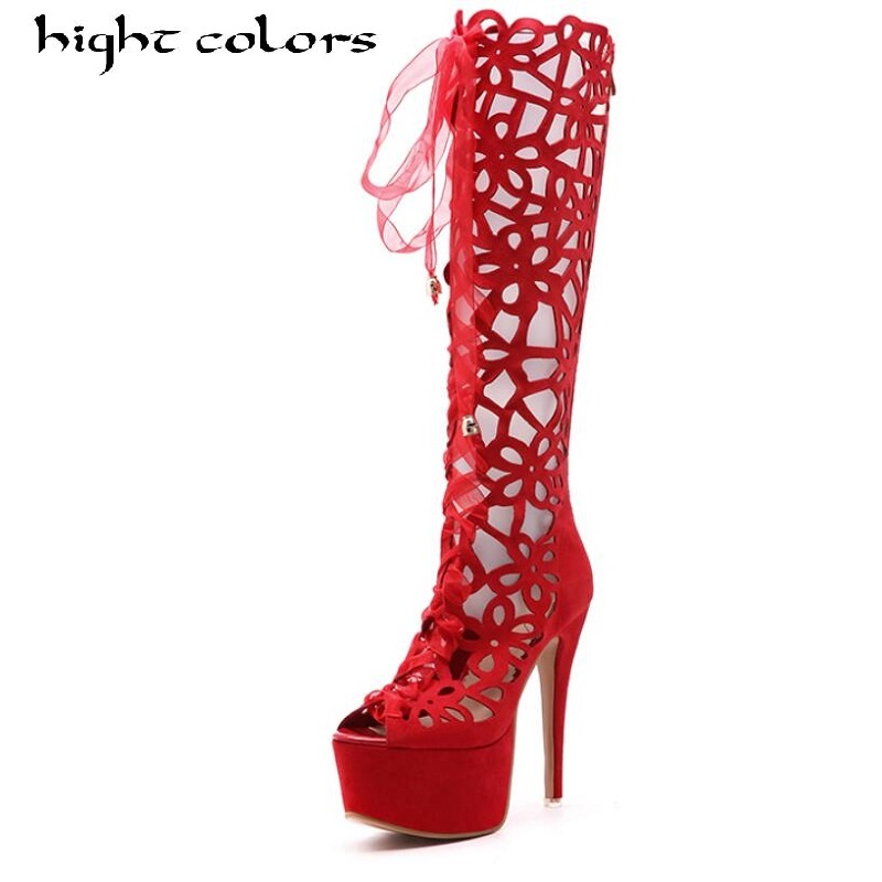 Fashion Platform Lace Up Cut Out Knee High Boots For Women Stiletto Sexy High Heels Open Toe Party Shoes Long Summer Boots women fashion lace up cut out ankle boots sexy high heels black party shoes open toe short booties stiletto pumps zg938 73