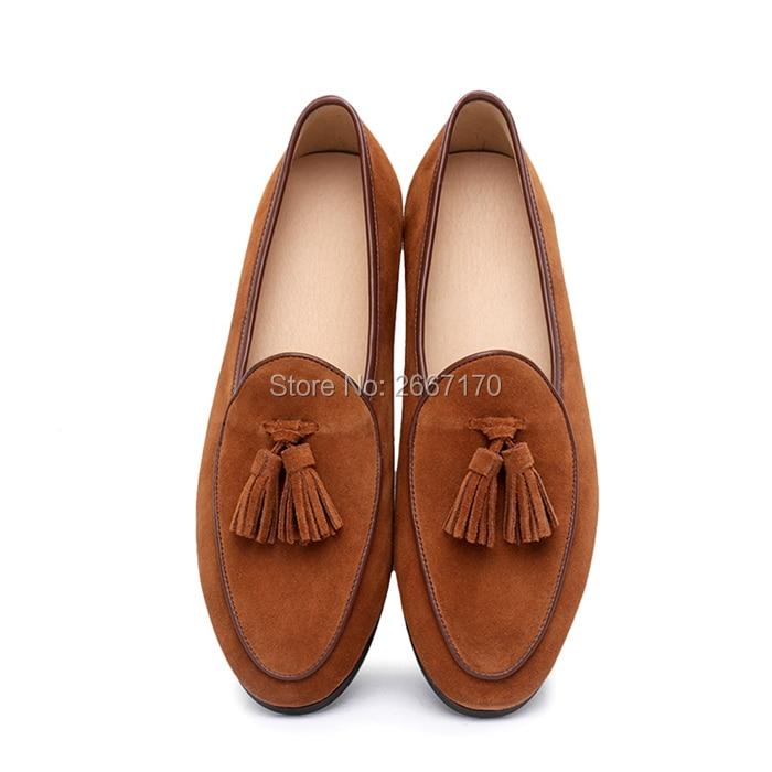 Top qualité messieurs affaires chaussures décontractées grande taille sans lacet appartements homme noir marron bleu vert daim cuir gland mocassins hommes