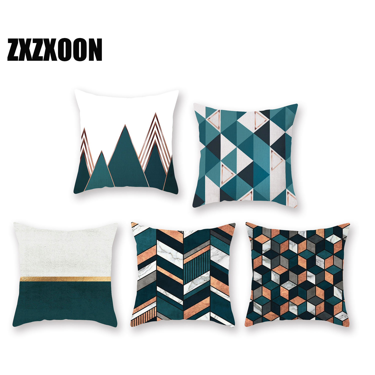 Decorative Throw Pillows Case Green Simple Geometric Polyester Cushion Cover For Sofa Home Car Living Room Funda Cojines