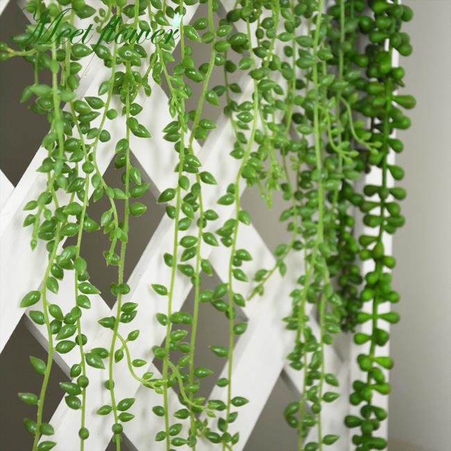 Fleshy Green Vine Flower Hanging Rattan Artificial Succulents Wall Garden Decor Pearls Plants Lover Tears In Dried Flowers From Home