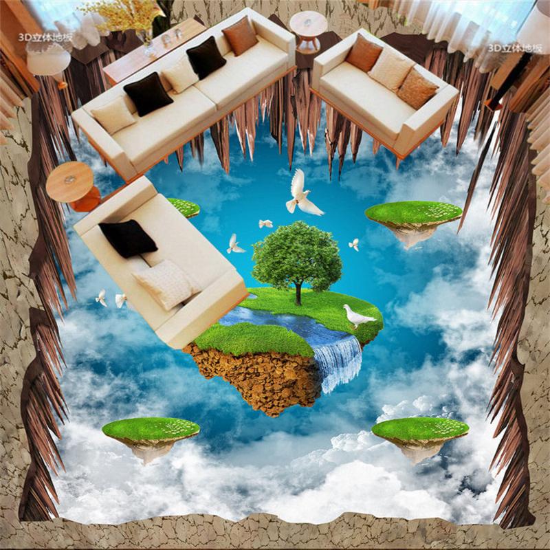 Beibehang Luft Suspension Insel Taube 3D Außen Boden Malerei  Benutzerdefinierte Bodenbelag Wohnzimmer Badezimmer Boden Tapete(