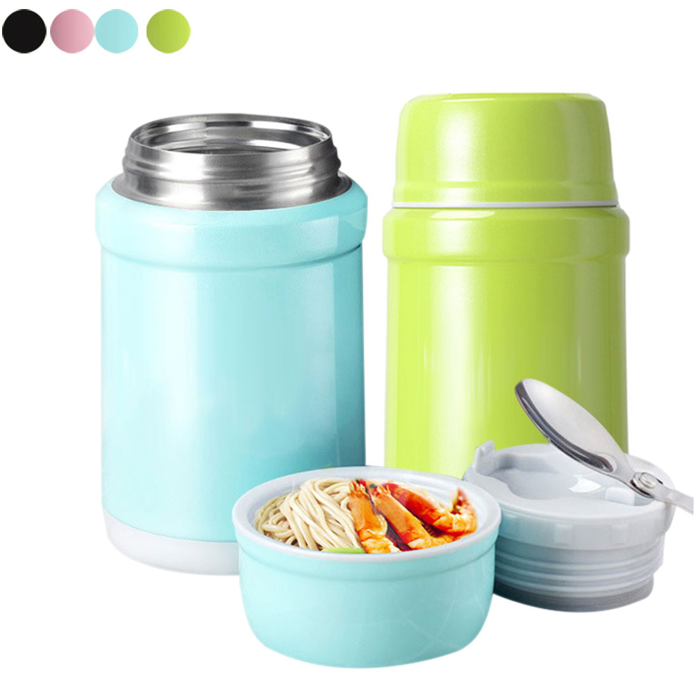 New Vacuum Insulated Thermal Water Bottle Stainless Steel Soup Food Container Flask With Spoon Russia Shipping XH8Z JY31 Термос