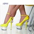 CDTS Плюс: 35-45 46 2016 весна/осень Круглый Носок 15 см тонкие каблуки платформы сексуальная Лодыжки ремень обуви женщины свадебные насосы
