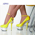 CDTS Plus:35-45 46 2016 spring/autumn Round Toe 15cm thin heels platform sexy  Ankle Strap shoes women wedding pumps