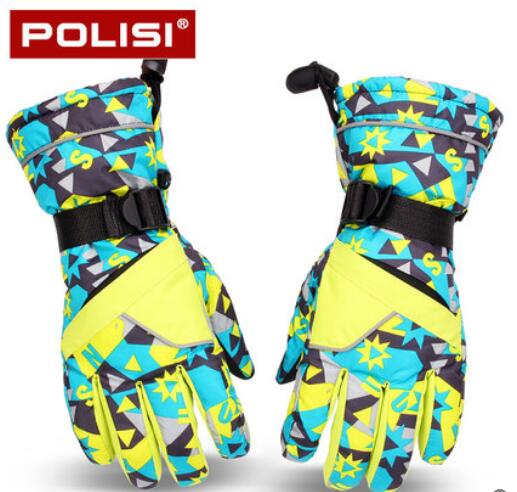 POLISI Mens Ski Snow Snowboard Skate Waterproof Gloves Winter Fleece Thermal Warm Snowmobile Motorcycle Riding Skiing Gloves