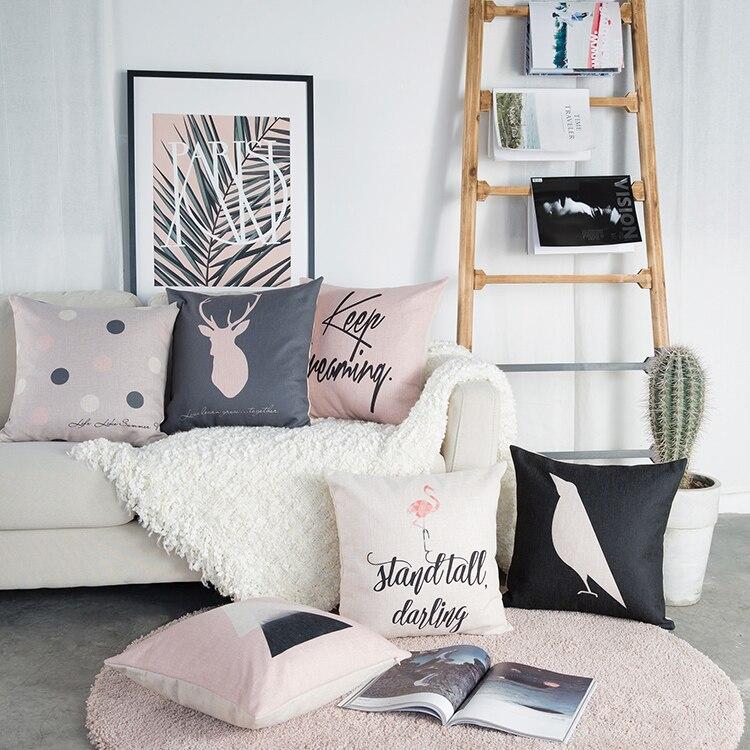 Buy Drop Ship Pink Grey Pillow Cover Deer