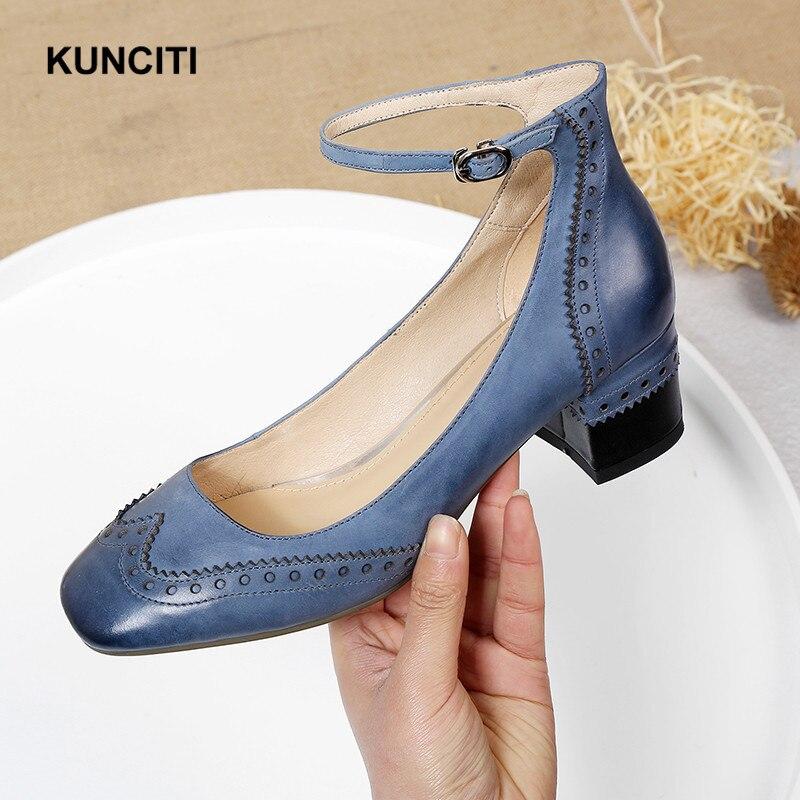 2019 KUNCITI tobillo Correa mujer Retro zapatos nuevo punta cuadrada cuero genuino Brogue zapatos tacón grueso moda diseñador bombas G63-in Zapatos de tacón de mujer from zapatos    1