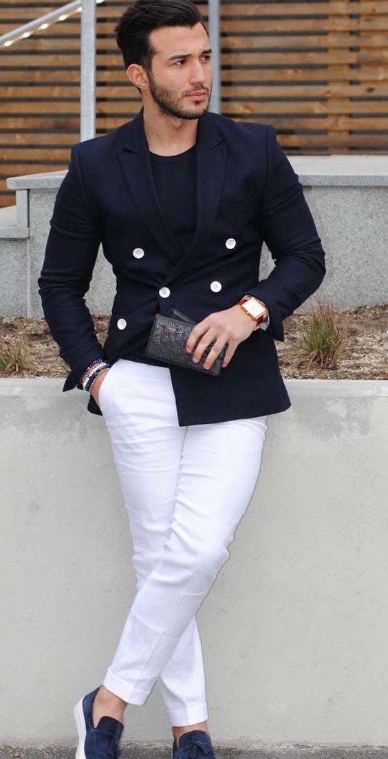 2017 Latest Coat Pant Design Navy Blue Double Breasted Men Suit Casual Blazer Skinny Tuxedo Custom Jacket Style Suits Masculino