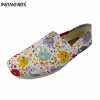 INSTANTARTS Cute Cartoon Elephant Print Women Flat Shoes Female Casual Canvas Lazy Shoe Vintage Ethnic Style Slip on Loafer Shoe