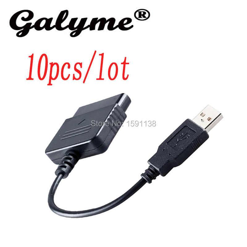 10 unids/lote nueva llegada adaptador USB Cable Convertidor para controlador de juegos para PS2 a para PS3 vídeo de PC cable accesorio de juego