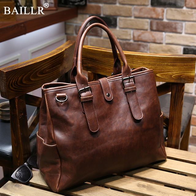 8f9fa53c59d 2019 New Fashion Brands Vintage Leather Briefcases Men Messenger Bags Brown  Luxury Business Briefcase Document Lawyer