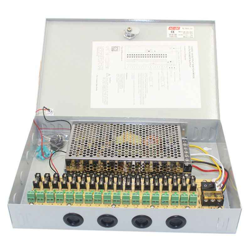 Mool 12V DC 10A 18 CH Channel Kotak Unit Power Supply untuk CCTV Kamera Pengintai