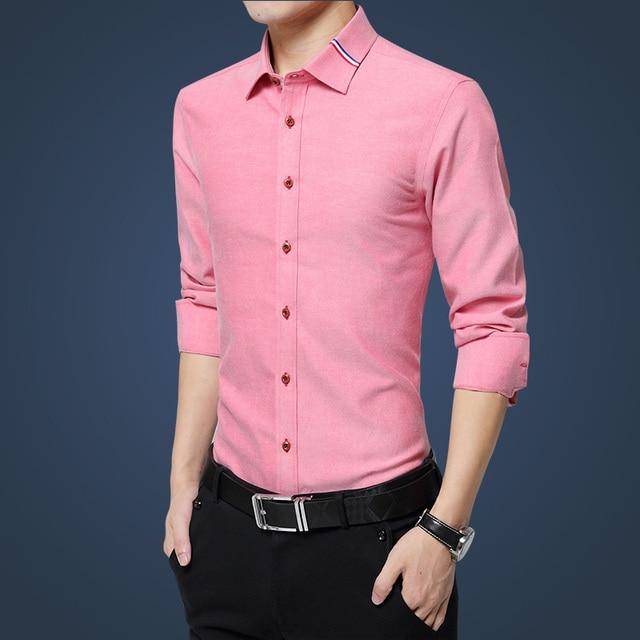 2016 New Fashion Casual Men Shirt Long Sleeve Stand Color Slim Fit Shirt Men business Mens Dress Shirts Men Clothes 5XL