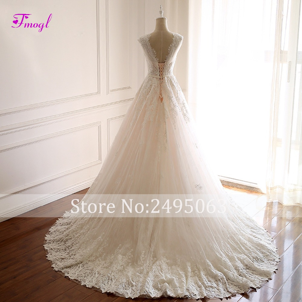 Image 2 - Fmogl Romantic V neck Pleated Lace A Line Wedding Dress 2019 Gorgeous Appliques Princess Bridal Gown Vestido de Noiva Plus Size-in Wedding Dresses from Weddings & Events