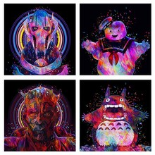 4 Pieces Star Wars Art Canvas Printing Painting General Grievous Darth Maul Stay Puft Totoro Movie Poster Home Decor Vintage