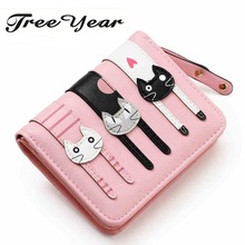 2017 HOT New Coming Fashion Lady Women Short Check Purse Cat lovely wallet PU Leather wallet Card holder Famous brand Wallet