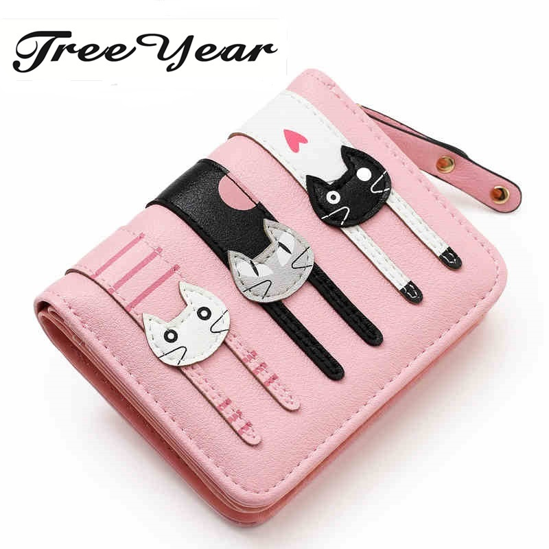 2017 HOT New Coming Fashion Lady Women Short Check Purse Cat lovely wallet PU Leather wallet Card holder Famous brand Wallet hot sale 2015 harrms famous brand men s leather wallet with credit card holder in dollar price and free shipping
