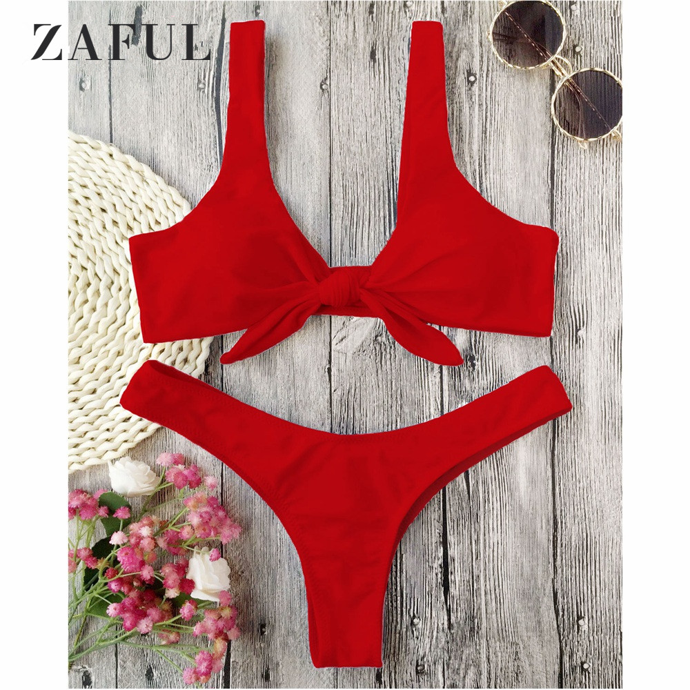 цена ZAFUL Bikini Knotted Padded Thong Bikini Set Women Swimwear Swimsuit Scoop Neck Solid High Cut Bathing Suit Brazilian Biquni