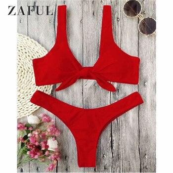 ZAFUL Biquíni Atado Tanga Acolchoado Bikini Set Mulheres Swimwear Maiô Pescoço Colher Sólida Alta Corte Maiô Brasileiro Biquni