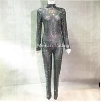 Fashion Sparkly Full Crystals Jumpsuit Prom Luxury Bodysuit Outfit Party Celebrate Glisten Crystals Costume Stage Show