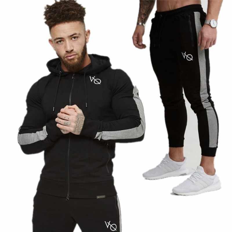 e7c196de7 Gimnasios hombres conjuntos de 2019 de moda ropa deportiva chándales  establece hombres gimnasios sudaderas con capucha