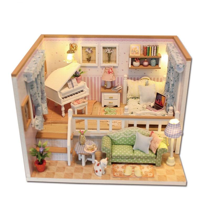 US $24.37 15% di SCONTO|Original genuine 3d fai da te duplex casa soggiorno  divano pianoforte mobili camera da letto a led casa delle bambole Nuovo ...