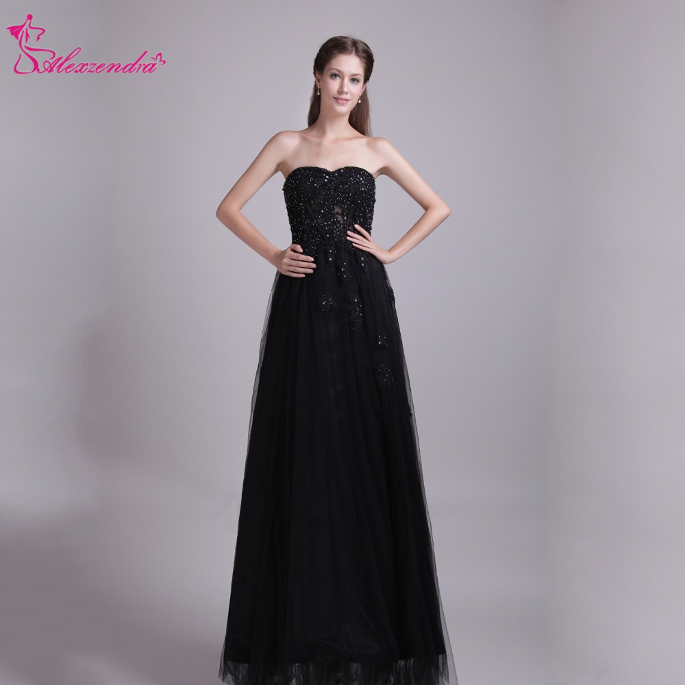 Alexzendra Black A Line Long   Prom     Dresses   Sweetheart Appliqued Beads Elegant Party   Dress   Custom Made Plus Size