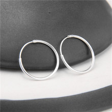 JINSE New 925 Sterling Silver Fine Smooth Exaggerated Circle Hoop Earrings For Women Earings Simple Sterling-Silver-Jewelry