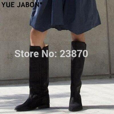 الشتاء المرأة الأحذية المتعثرة الانزلاق على جلد مستقيم طويل أحذية الارتفاع زيادة مسطح حذاء برقبة للركبة حذاء بكعب ويدج الخريف